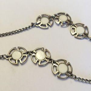 Vintage Silver tone & white stone necklace